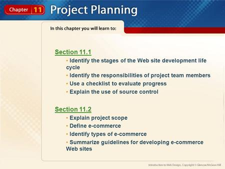 Section 11.1 Identify the stages of the Web site development life cycle Identify the responsibilities of project team members Use a checklist to evaluate.