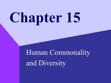 Chapter 15 Human Commonality and Diversity. Copyright © 1999 by The McGraw-Hill Companies, Inc. 2 Culture and Ethnicity Culture –the behavior patterns,