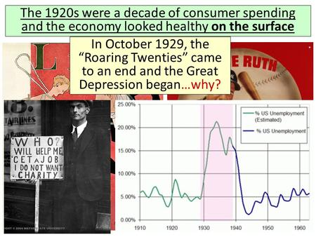 "The 1920s were a decade of consumer spending and the economy looked healthy on the surface In October 1929, the ""Roaring Twenties"" came to an end and the."