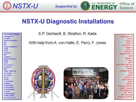 NSTX-U Diagnostic Installations S.P. Gerhardt, B. Stratton, R. Kaita With help from A. von Halle, E. Perry, F. Jones NSTX-U Supported by Culham Sci Ctr.