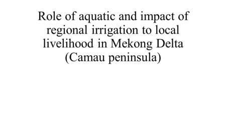 Role of aquatic and impact of regional irrigation to local livelihood in Mekong Delta (Camau peninsula)