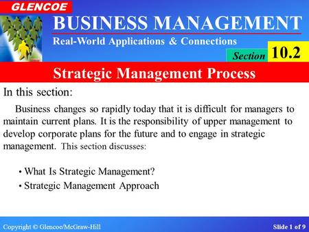 Copyright © Glencoe/McGraw-Hill Slide 1 of 9 BUSINESS MANAGEMENT Real-World Applications & Connections GLENCOE Section 10.2 Strategic Management Process.