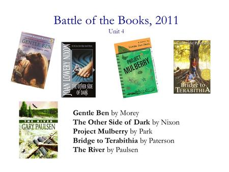 Battle of the Books, 2011 Unit 4 Gentle Ben by Morey The Other Side of Dark by Nixon Project Mulberry by Park Bridge to Terabithia by Paterson The River.