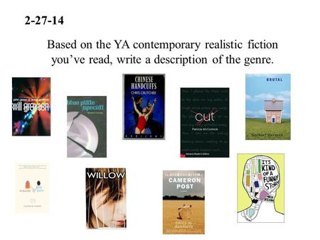 2-27-14 Based on the YA contemporary realistic fiction you've read, write a description of the genre.