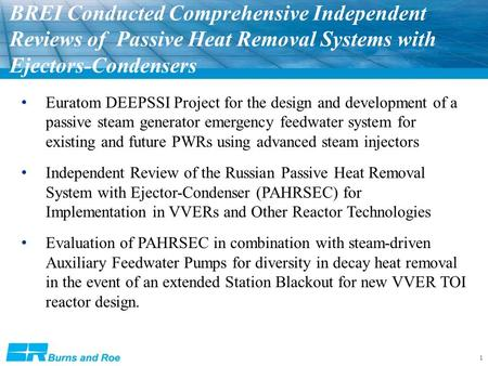 1 BREI Conducted Comprehensive Independent Reviews of Passive Heat Removal Systems with Ejectors-Condensers Euratom DEEPSSI Project for the design and.
