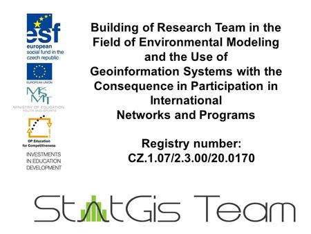 Building of Research Team in the Field of Environmental Modeling and the Use of Geoinformation Systems with the Consequence in Participation in International.