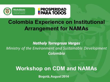 Colombia Experience on Institutional Arrangement for NAMAs Nathaly Torregroza Vargas Nathaly Torregroza Vargas Ministry of the Environment and Sustainable.