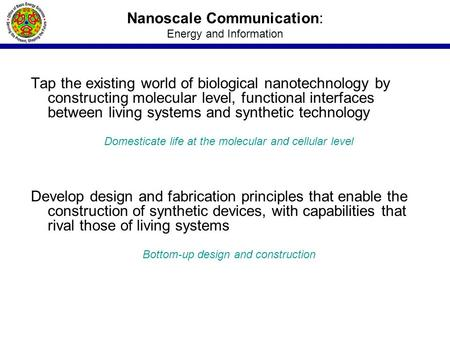 Nanoscale Communication: Energy and Information Tap the existing world of biological nanotechnology by constructing molecular level, functional interfaces.