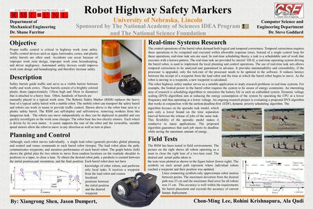 Robot Highway Safety Markers algorithm focuses on the sporadic task model, which puts only a lower bound on the time separation interval between the release.