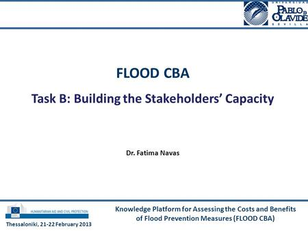 Knowledge Platform for Assessing the Costs and Benefits of Flood Prevention Measures (FLOOD CBA) FLOOD CBA Task B: Building the Stakeholders' Capacity.