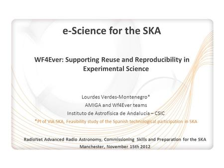 E-Science for the SKA WF4Ever: Supporting Reuse and Reproducibility in Experimental Science Lourdes Verdes-Montenegro* AMIGA and Wf4Ever teams Instituto.
