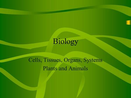 Biology Cells, Tissues, Organs, Systems Plants and Animals.