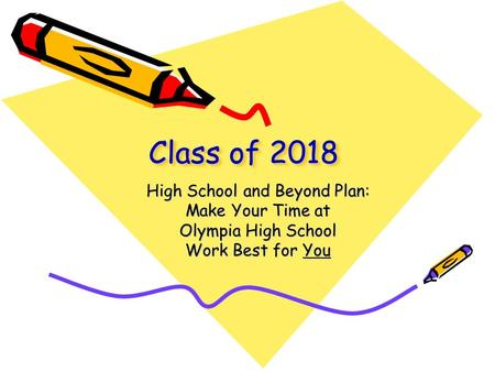 Class of 2018 High School and Beyond Plan: Make Your Time at Olympia High School Work Best for You.