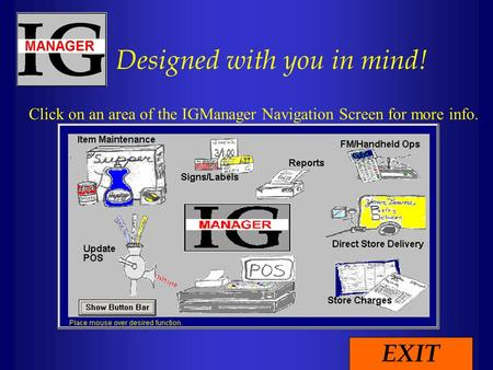 Designed with you in mind! Click on an area of the IGManager Navigation Screen for more info. EXIT.