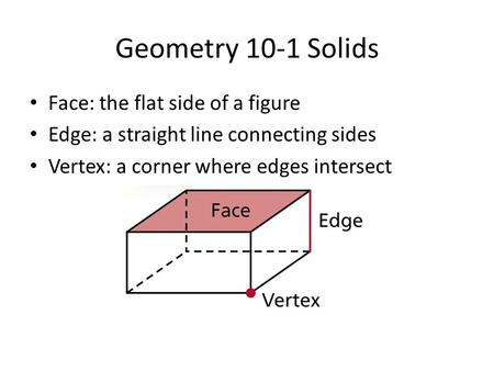 Geometry 10-1 Solids Face: the flat side of a figure Edge: a straight line connecting sides Vertex: a corner where edges intersect.