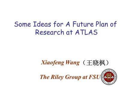 Some Ideas for A Future Plan of Research at ATLAS Xiaofeng Wang The Riley Group at FSU.