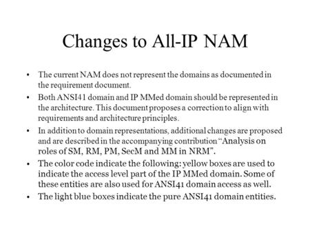 Changes to All-IP NAM The current NAM does not represent the domains as documented in the requirement document. Both ANSI41 domain and IP MMed domain should.
