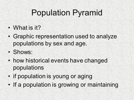 Population Pyramid What is it? Graphic representation used to analyze populations by sex and age. Shows: how historical events have changed populations.