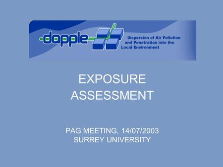 EXPOSURE ASSESSMENT PAG MEETING, 14/07/2003 SURREY UNIVERSITY.