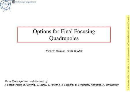 Options for Final Focusing Quadrupoles Michele Modena CERN TE-MSC Many thanks for the contributions of: J. Garcia Perez, H. Gerwig, C. Lopez, C. Petrone,