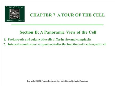 CHAPTER 7 A TOUR OF THE CELL Copyright © 2002 Pearson Education, Inc., publishing as Benjamin Cummings Section B: A Panoramic View of the Cell 1.Prokaryotic.