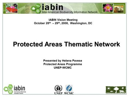 Protected Areas Thematic Network IABIN Vision Meeting October 28 th – 29 th, 2008, Washington, DC Presented by Helena Pavese Protected Areas Programme.