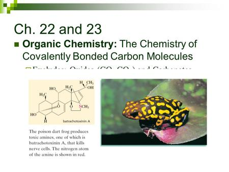 Ch. 22 and 23 Organic Chemistry: The Chemistry of Covalently Bonded Carbon Molecules  Excludes: Oxides (CO, CO 2 ) and Carbonates (Na 2 CO 3 )