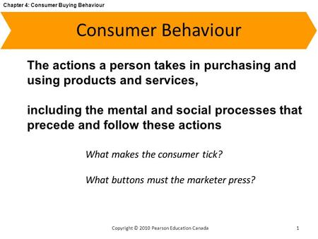 Chapter 4: Consumer Buying Behaviour Copyright © 2010 Pearson Education Canada Consumer Behaviour 1 The actions a person takes in purchasing and using.