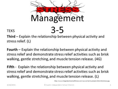Management 3-5 1 TEKS Third – Explain the relationship between physical activity and stress relief. (L) Fourth – Explain the relationship between physical.
