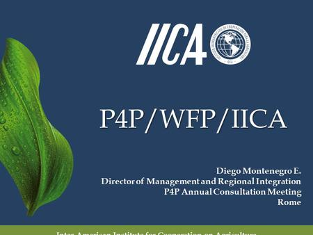 P4P/WFP/IICA Inter-American Institute for Cooperation on Agriculture Diego Montenegro E. Director of Management and Regional Integration P4P Annual Consultation.
