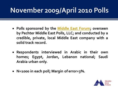  Polls sponsored by the Middle East Forum; overseen by Pechter Middle East Polls, LLC; and conducted by a credible, private, local Middle East company.