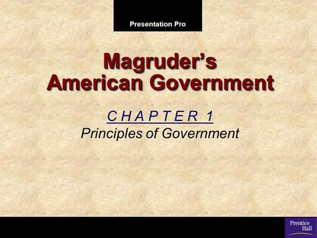 Presentation Pro Magruder's American Government C H A P T E R 1 Principles of Government.