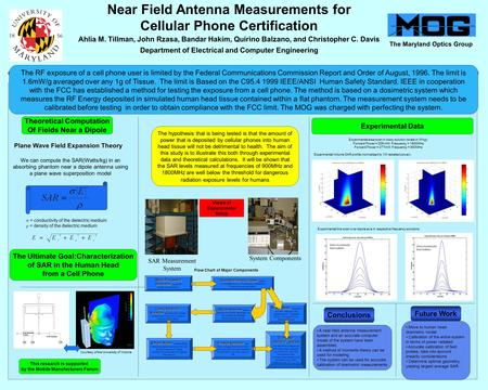 Near Field Antenna Measurements for Cellular Phone Certification Ahlia M. Tillman, John Rzasa, Bandar Hakim, Quirino Balzano, and Christopher C. Davis.