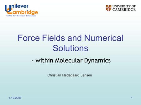 1-12-20051 Force Fields and Numerical Solutions Christian Hedegaard Jensen - within Molecular Dynamics.