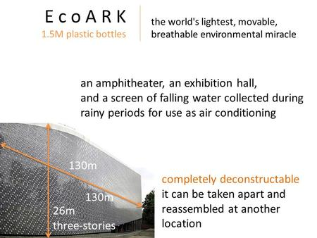 E c o A R K 1.5M plastic bottles an amphitheater, an exhibition hall, and a screen of falling water collected during rainy periods for use as air conditioning.