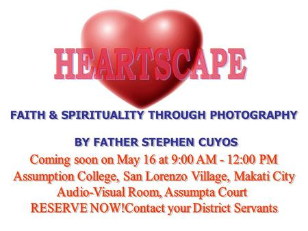 HEARTSCAPE: FAITH & SPIRITUALITY THROUGH PHOTOGRAPHY About The Facilitator Fr. Stephen Cuyos is a Missionary of the Sacred Heart (www.misacor.org).www.misacor.org.