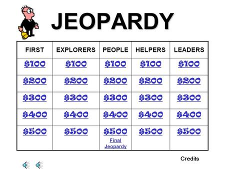 JEOPARDY FIRSTEXPLORERSPEOPLEHELPERSLEADERS $100 $200 $300 $400 $500 Final Jeopardy $500 Credits.