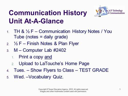 Communication History Unit At-A-Glance 1. TH & ½ F – Communication History Notes / You Tube (notes = daily grade) 2. ½ F – Finish Notes & Plan Flyer 3.