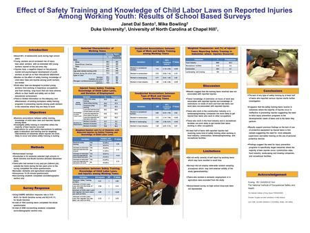 Effect of Safety Training and Knowledge of Child Labor Laws on Reported Injuries Among Working Youth: Results of School Based Surveys Janet Dal Santo 1,