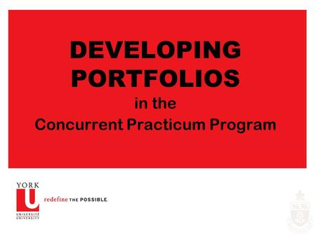DEVELOPING PORTFOLIOS in the Concurrent Practicum Program.