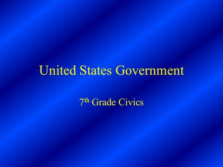 United States Government 7 th Grade Civics. What is Government? The organization people set up to protect the community and enforce its rules.