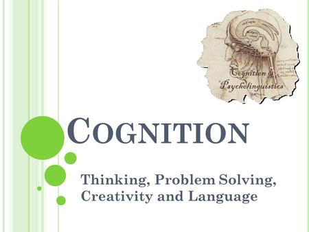 C OGNITION Thinking, Problem Solving, Creativity and Language.