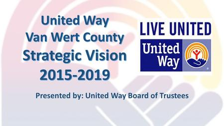 Presented by: United Way Board of Trustees. Campaign Results (last 5 years) Average Campaign $436,000 (20% admin cost)
