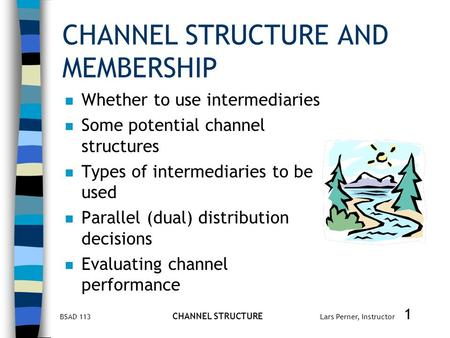 BSAD 113 CHANNEL STRUCTURE Lars Perner, Instructor 1 CHANNEL STRUCTURE AND MEMBERSHIP n Whether to use intermediaries n Some potential channel structures.