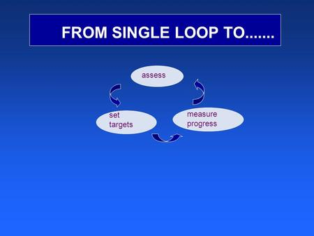 FROM SINGLE LOOP TO....... measure progress set targets assess.