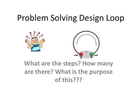 Problem Solving Design Loop What are the steps? How many are there? What is the purpose of this???