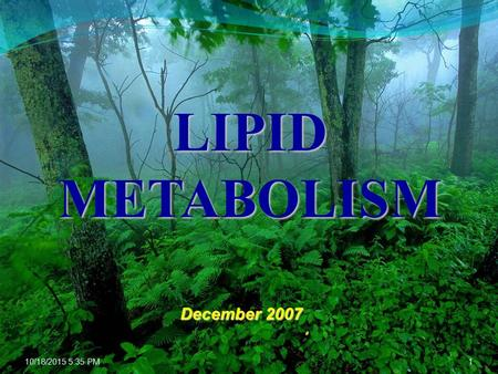 10/18/2015 5:36 PM1 LIPID METABOLISM December 2007.