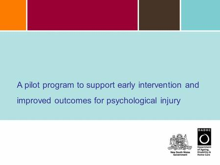 A pilot program to support early intervention and improved outcomes for psychological injury.