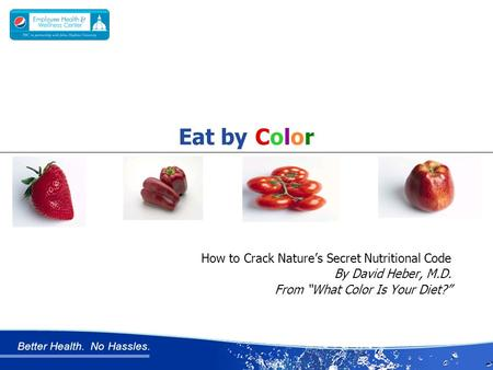"Better Health. No Hassles. How to Crack Nature's Secret Nutritional Code By David Heber, M.D. From ""What Color Is Your Diet?"" Eat by Color."