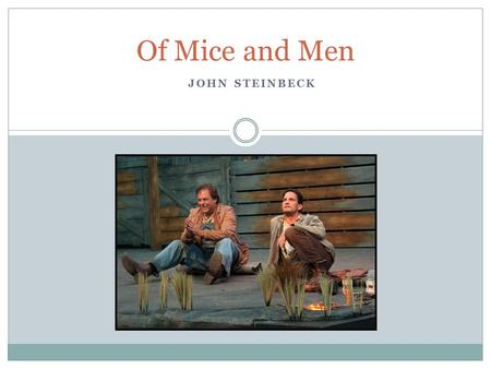 JOHN STEINBECK Of Mice and Men. John Steinbeck Born in Salinas, California in 1902  Spent the majority of his life in California  impact on his writing?